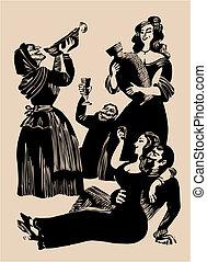 fiesta, medieval, aguafuerte