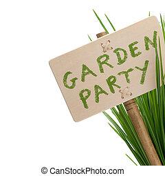 fiesta, mensaje, jardín