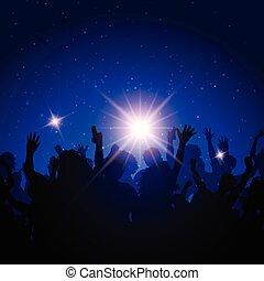 fiesta, multitud, en, cielo de la noche, plano de fondo