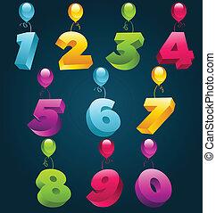 fiesta, números, 3d