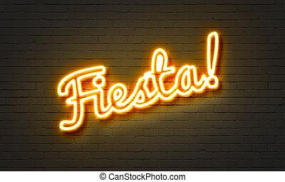 fiesta, neon signera, på, tegelsten vägg, bakgrund.