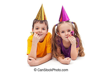 fiesta, niños, -, aislado
