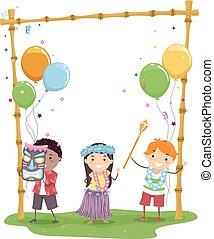 fiesta, niños, stickman, hawaiano