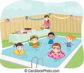 fiesta, niños, stickman, piscina