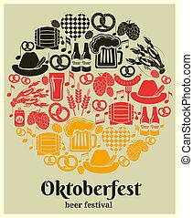 fiesta, oktoberfest, cerveza, etiqueta