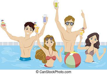 fiesta, piscina