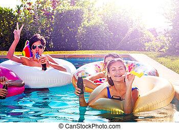 fiesta, piscina, golpe, niña, natación, noisemaker