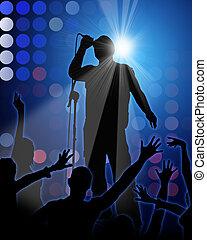 fiesta, plano de fondo, azul, cantante, roca