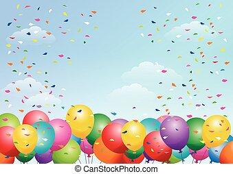 fiesta, plano de fondo, con, globos, en, el, cielo azul