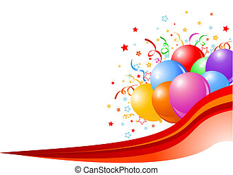 fiesta, plano de fondo, globos
