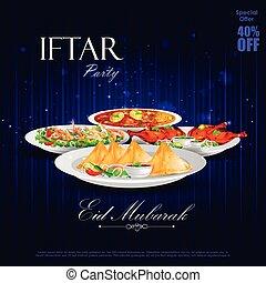 fiesta, plano de fondo, iftar