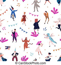 fiesta., plano de fondo, vestido, vector, patrón, ...