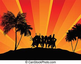 fiesta, playa., feriado