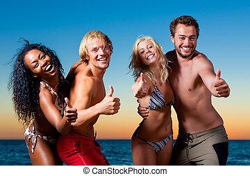 fiesta, playa, teniendo, gente