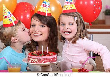 fiesta, poco, cumpleaños, ella/los/las de niña