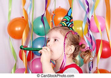 fiesta, poco, muchacha del cumpleaños