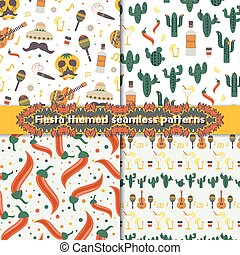 Fiesta seamless patterns set with traditional Mexican symbols