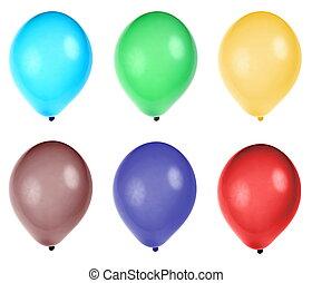 fiesta, seis, globos, colorido