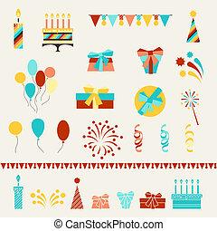 fiesta, set., cumpleaños, feliz, iconos