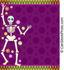 Fiesta Skeleton - Festive skeleton and flowers on a colorful...