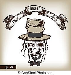 fiesta, stylle., cráneo, heat., horror, mano, invitación, ...