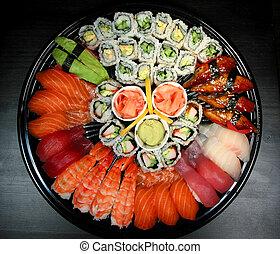 fiesta, sushi, bandeja