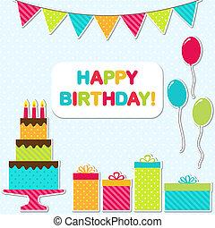 fiesta, tarjeta de cumpleaños