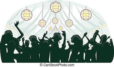 fiesta, tienda, recepción, boda