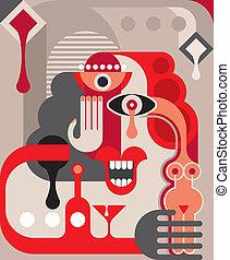 fiesta, vector, cóctel, ilustración