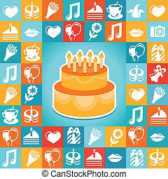 fiesta, vector, cumpleaños, iconos