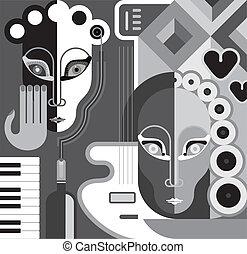 fiesta, vector, -, ilustración, música