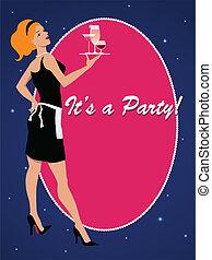 fiesta, wa, cóctel, invitación