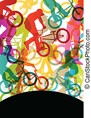 fiets, abstract, fietsers, kinderen, silhouettes, vector,...
