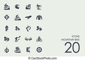 fiets, berg, set, iconen