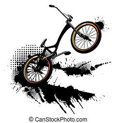 fiets, bmx, grunge, achtergrond