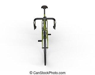 fiets, bovenzijde, -, sporten, groene, vooraanzicht