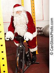 fiets, claus, kerstman, oefening