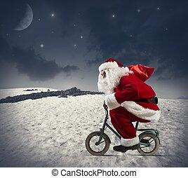 fiets, claus, kerstman