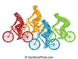 fiets, concept, fiets, kleurrijke, illustratie, vector, achtergrond, silhouette, sportende, passagier, straat