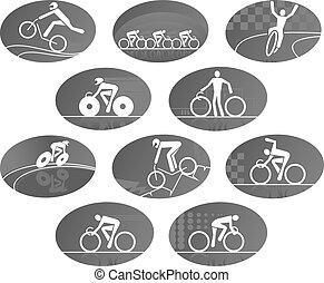 fiets, cycling, hardloop, sportende, vector, iconen, set