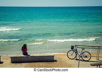 fiets, dichtbij, de, zee