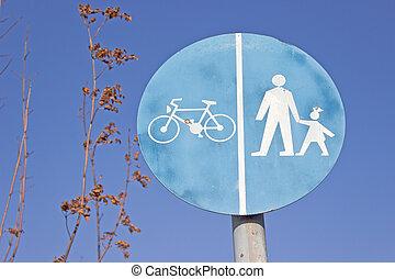 fiets, en, voetganger, gedeeld, verkeer, route, meldingsbord, op, blauwe hemel