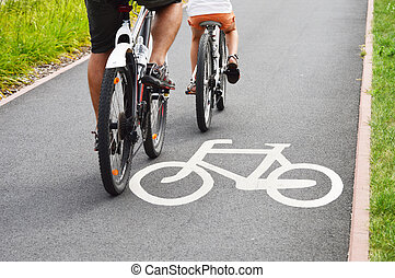 fiets, fiets, passagiers, wegaanduiding