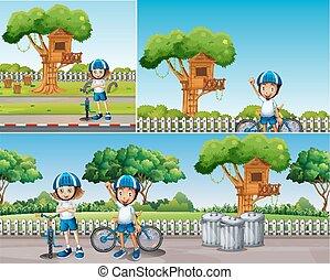 fiets, geitjes, park, paardrijden