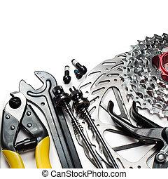 fiets, gereedschap, en, reserveonderdelen
