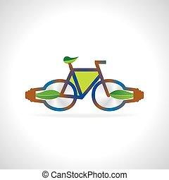 fiets, groen blad