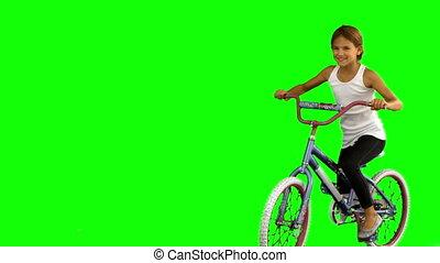 fiets, groene, weinig; niet zo(veel), scherm, meisje, paardrijden