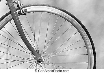 fiets hengsel, op, hand, afsluiten, houden