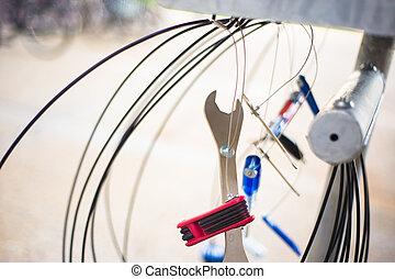 fiets, herstelling, gereedschap