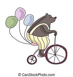 fiets, illustratie, circus, vrijstaand, beer, achtergrond., vector, paardrijden, witte , balloons.
